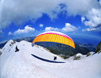 Paraglider flying from Tahtali mountain Royalty Free Stock Images