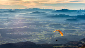 Paraglider is flying in the valley Royalty Free Stock Image