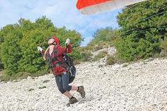 Paraglider launching Royalty Free Stock Photos