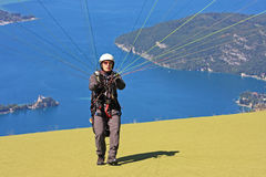 Paraglider launching wing Stock Photography