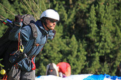 Paraglider launching wing Stock Photos
