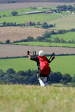 Paraglider lift off. Paraglider ready for take off Stock Photo