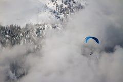 Paraglider on mountain. Paraglider on Dolomites, Paganella ski, trento Stock Photos