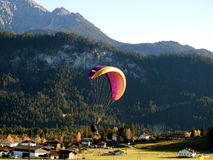 Paraglider in the mountain. Paraglider with beautiful view in the mountain Stock Photography