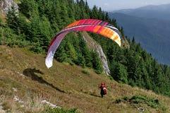 Paraglider ready to jump - Postavaru Mountains, Romania Royalty Free Stock Photography
