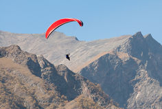 Paraglider in mountains. Paragliding flight in the mountains Caucasus Russia Royalty Free Stock Photography