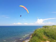 Paraglider near cliff along baltic sea coastline. Adult paraglider near cliff along baltic sea coastline and green meadow wheat field at Boltenhagen Coast stock images