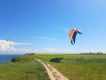 Paraglider near cliff along baltic sea coastline. Adult paraglider wants to start near cliff along baltic sea coastline and green meadow wheat field at stock image