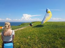 Paraglider near cliff along baltic sea coastline. Woman watching adult paraglider near cliff along baltic sea coastline and green meadow wheat field at stock images