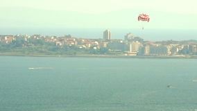 Paraglider over the bay of Sunny Beach, Bulgaria stock footage