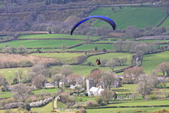 Paraglider over Dartmoor Stock Photos