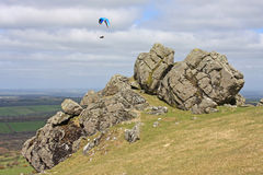 Paraglider over Dartmoor Stock Image