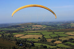 Paraglider over Dartmoor Stock Photography