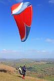 Paraglider over Dartmoor Stock Photos