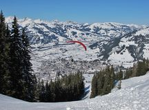 Paraglider over Gstaad Stock Images