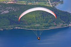 Paraglider over Lake Annecy Royalty Free Stock Images