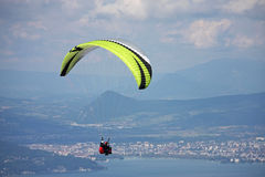 Paraglider over Lake Annecy Stock Photos