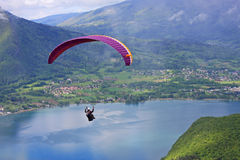 Paraglider over Lake Annecy Stock Image