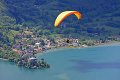 Paraglider over Lake Annecy Royalty Free Stock Photo