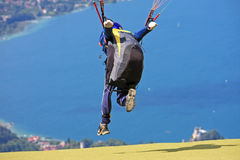Paraglider over Lake Annecy Stock Photography