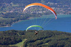 Paraglider over Lake Annecy Stock Photo