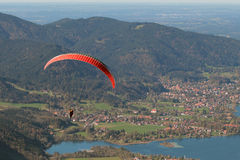 Paraglider over Lake Tegernsee Royalty Free Stock Photo