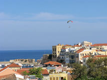 Paraglider over old town Chania Royalty Free Stock Images