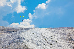 Paraglider over Pamukkale. Travertines - Turkey royalty free stock photos