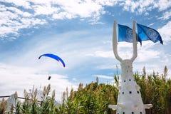Paraglider over Punta del Este, the Atlantic Coast, Uruguay Royalty Free Stock Images