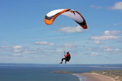 Paraglider over Rhossili Stock Images