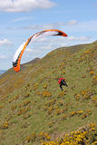 Paraglider over Rhossili Royalty Free Stock Images