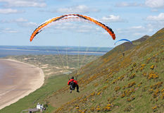 Paraglider over Rhossili Stock Photos
