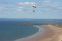 Paraglider over Rhossili Royalty Free Stock Image