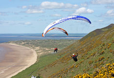 Paraglider over Rhossili Stock Photo