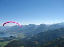 Paraglider over salzkammergut Royalty Free Stock Image