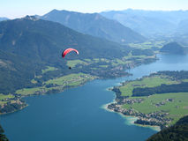 Paraglider over salzkammergut Stock Photo