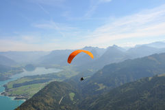 Paraglider over salzkammergut Stock Photos