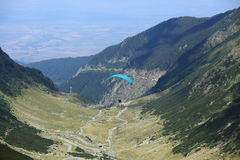 Paraglider over Transfagarasan road Stock Image
