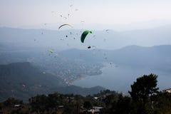 Paraglider. Paradise, in the Nepali himalaya. Fewa Lake Pokhara Royalty Free Stock Images