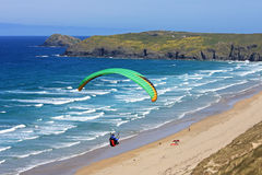 Paraglider at Perranporth Stock Images