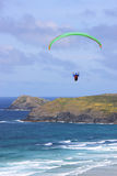 Paraglider at Perranporth Royalty Free Stock Photography