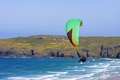 Paraglider at Perranporth Stock Photos