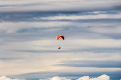 Paraglider. Photo was taken in Low Tatras national park from Chopok peak looking towards Demanovska valley, Slovkia royalty free stock photography
