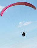 Paraglider pilot. Flying against the blue sky Royalty Free Stock Image