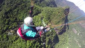 Paraglider pilot, physical handicapped stock video