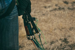 The paraglider pilot's hand with slings Royalty Free Stock Images