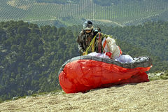 Paraglider preparing to fly Royalty Free Stock Photography