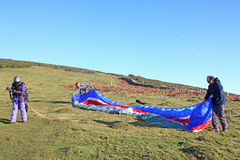 Paraglider preparing to fly Royalty Free Stock Photo
