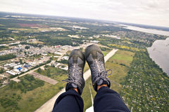 Paraglider's boots Stock Images