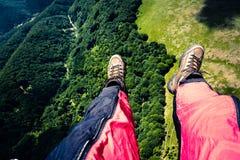 Paraglider`s feet Stock Photo